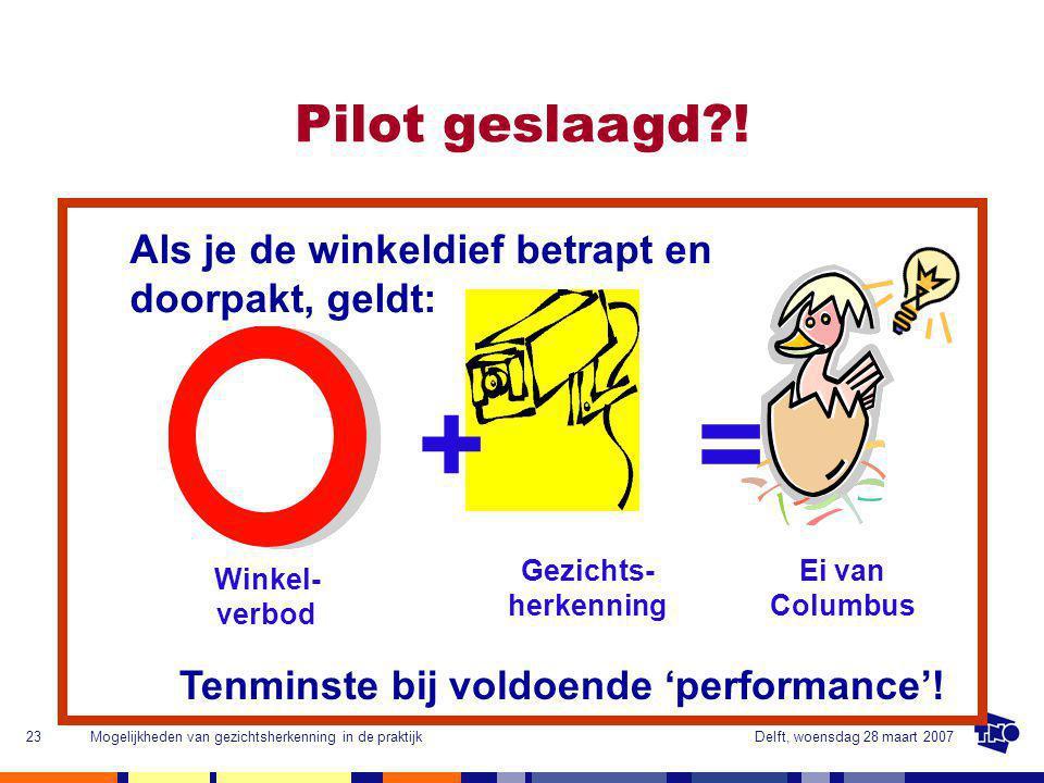 Delft, woensdag 28 maart 2007Mogelijkheden van gezichtsherkenning in de praktijk23 Pilot geslaagd .