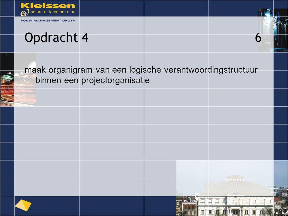Opdracht 46 maak organigram van een logische verantwoordingstructuur binnen een projectorganisatie