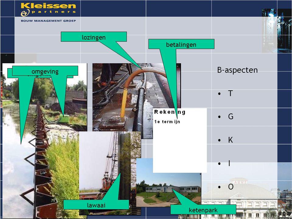 B-aspecten T G K I O omgeving lozingen betalingen ketenpark lawaai omgeving