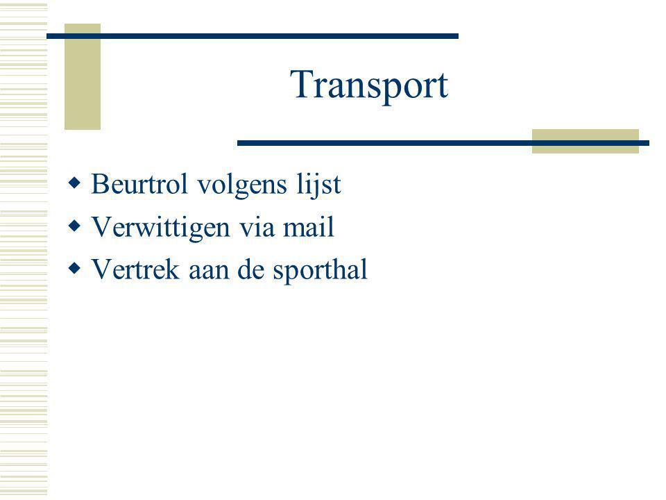 Transport  Beurtrol volgens lijst  Verwittigen via mail  Vertrek aan de sporthal