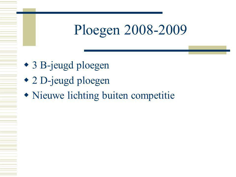 Ploegen 2008-2009  3 B-jeugd ploegen  2 D-jeugd ploegen  Nieuwe lichting buiten competitie