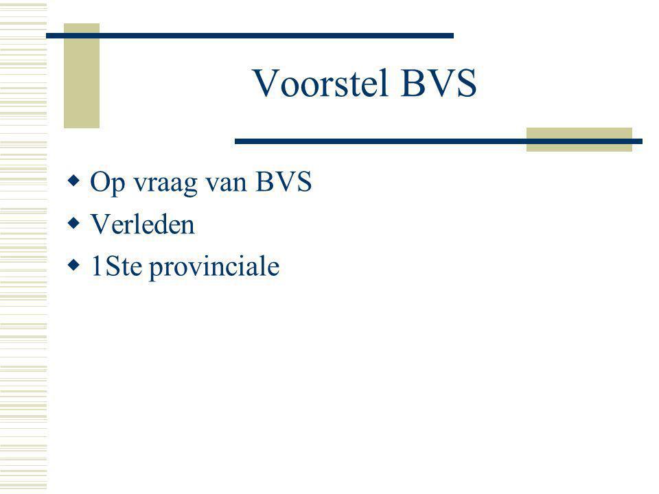 Voorstel BVS  Op vraag van BVS  Verleden  1Ste provinciale