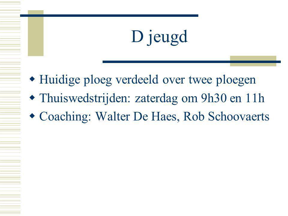 D jeugd  Huidige ploeg verdeeld over twee ploegen  Thuiswedstrijden: zaterdag om 9h30 en 11h  Coaching: Walter De Haes, Rob Schoovaerts