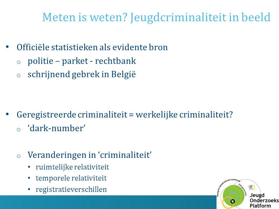 Officiële statistieken als evidente bron o politie – parket - rechtbank o schrijnend gebrek in België Geregistreerde criminaliteit = werkelijke crimin