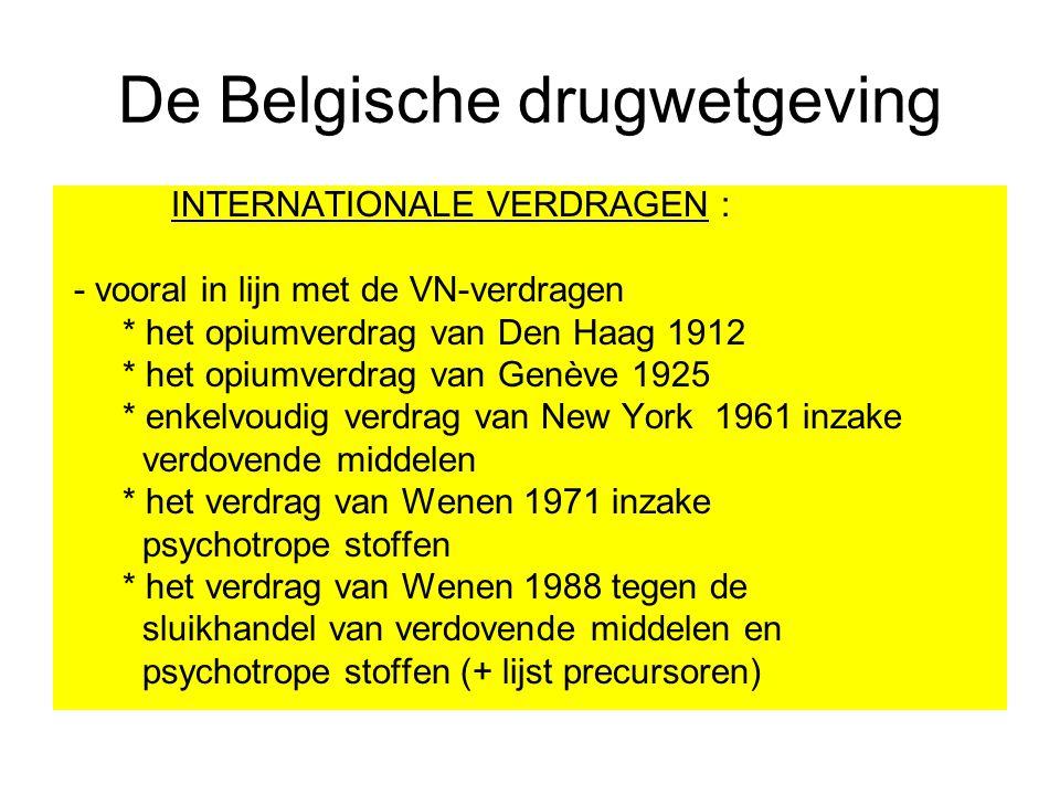De Belgische drugwetgeving INTERNATIONALE VERDRAGEN : - vooral in lijn met de VN-verdragen * het opiumverdrag van Den Haag 1912 * het opiumverdrag van
