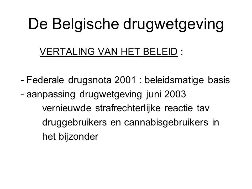 De Belgische drugwetgeving VERTALING VAN HET BELEID : - Federale drugsnota 2001 : beleidsmatige basis - aanpassing drugwetgeving juni 2003 vernieuwde
