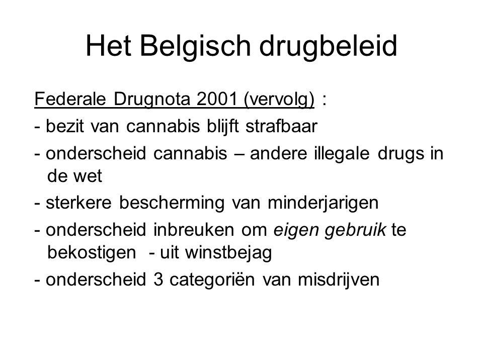 Het Belgisch drugbeleid Federale Drugnota 2001 (vervolg) : - bezit van cannabis blijft strafbaar - onderscheid cannabis – andere illegale drugs in de