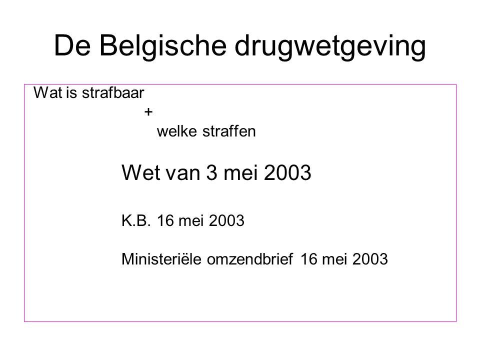 De Belgische drugwetgeving Wat is strafbaar + welke straffen Wet van 3 mei 2003 K.B. 16 mei 2003 Ministeriële omzendbrief 16 mei 2003