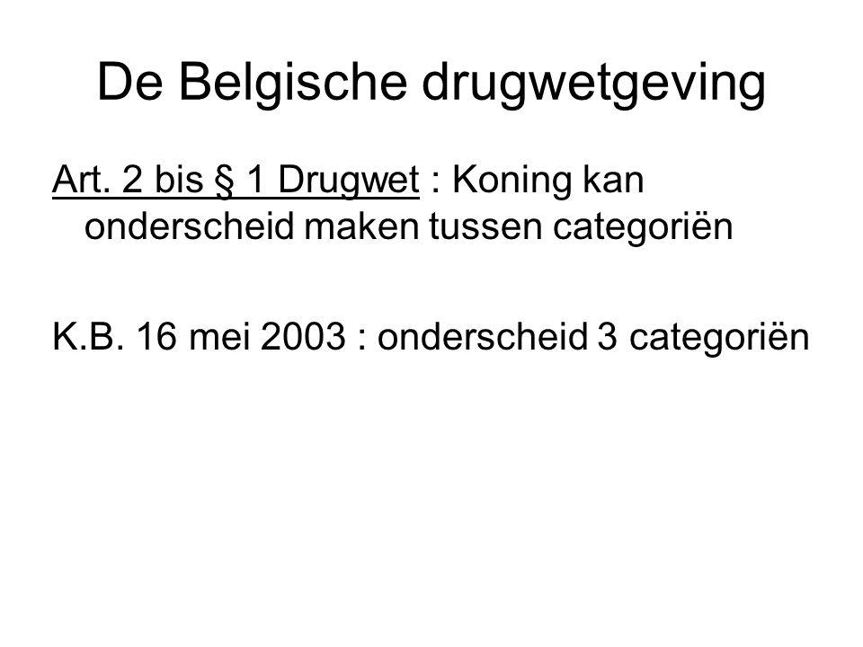 De Belgische drugwetgeving Art. 2 bis § 1 Drugwet : Koning kan onderscheid maken tussen categoriën K.B. 16 mei 2003 : onderscheid 3 categoriën