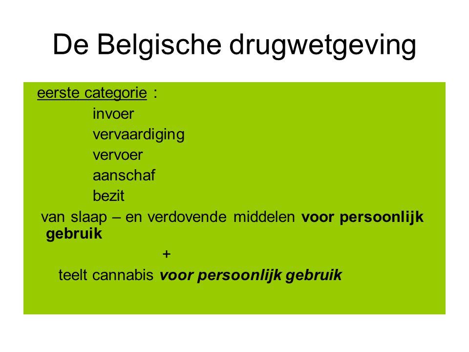 De Belgische drugwetgeving eerste categorie : invoer vervaardiging vervoer aanschaf bezit van slaap – en verdovende middelen voor persoonlijk gebruik