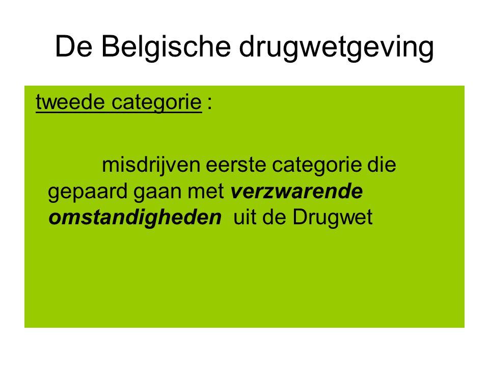 De Belgische drugwetgeving tweede categorie : misdrijven eerste categorie die gepaard gaan met verzwarende omstandigheden uit de Drugwet
