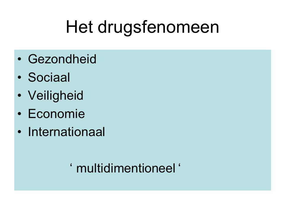 Het drugsfenomeen Gezondheid Sociaal Veiligheid Economie Internationaal ' multidimentioneel '