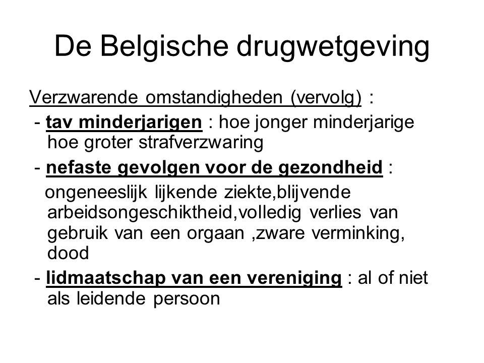 De Belgische drugwetgeving Verzwarende omstandigheden (vervolg) : - tav minderjarigen : hoe jonger minderjarige hoe groter strafverzwaring - nefaste g