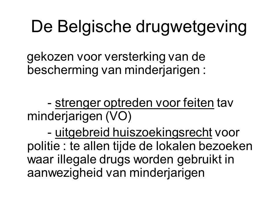 De Belgische drugwetgeving gekozen voor versterking van de bescherming van minderjarigen : - strenger optreden voor feiten tav minderjarigen (VO) - ui