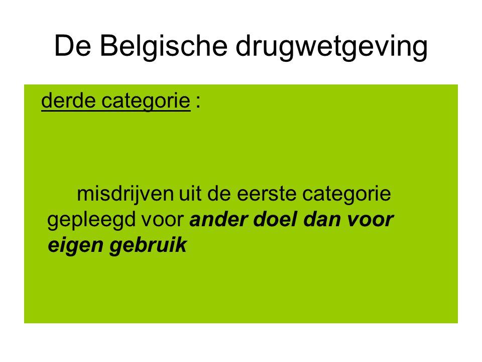 De Belgische drugwetgeving derde categorie : misdrijven uit de eerste categorie gepleegd voor ander doel dan voor eigen gebruik