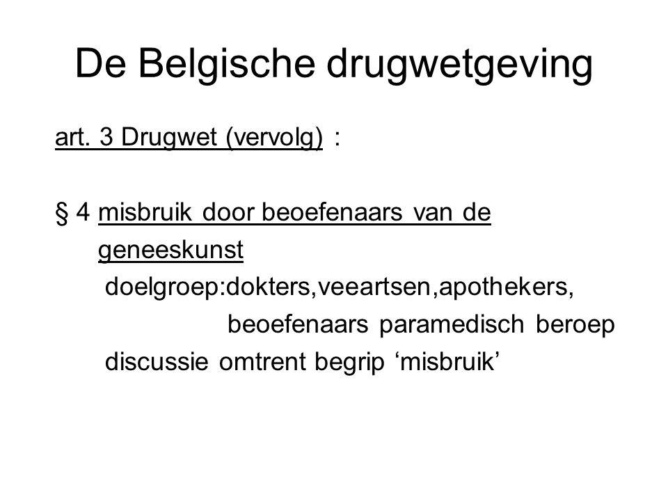 De Belgische drugwetgeving art. 3 Drugwet (vervolg) : § 4 misbruik door beoefenaars van de geneeskunst doelgroep:dokters,veeartsen,apothekers, beoefen