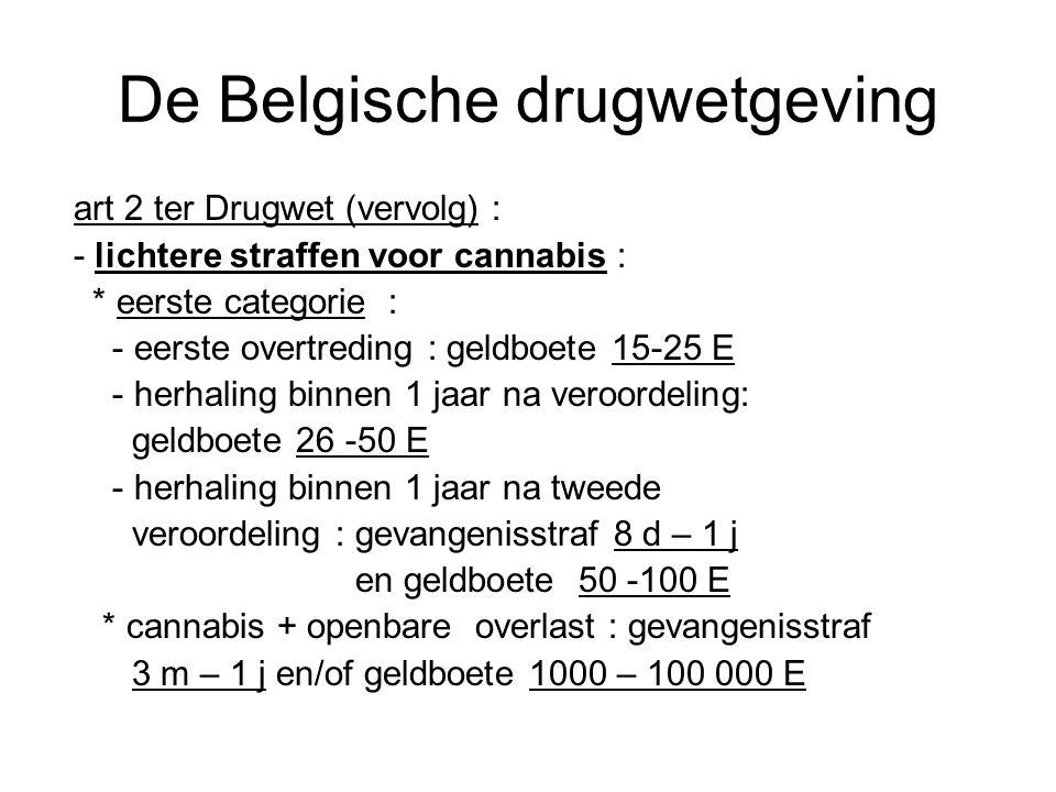 De Belgische drugwetgeving art 2 ter Drugwet (vervolg) : - lichtere straffen voor cannabis : * eerste categorie : - eerste overtreding : geldboete 15-