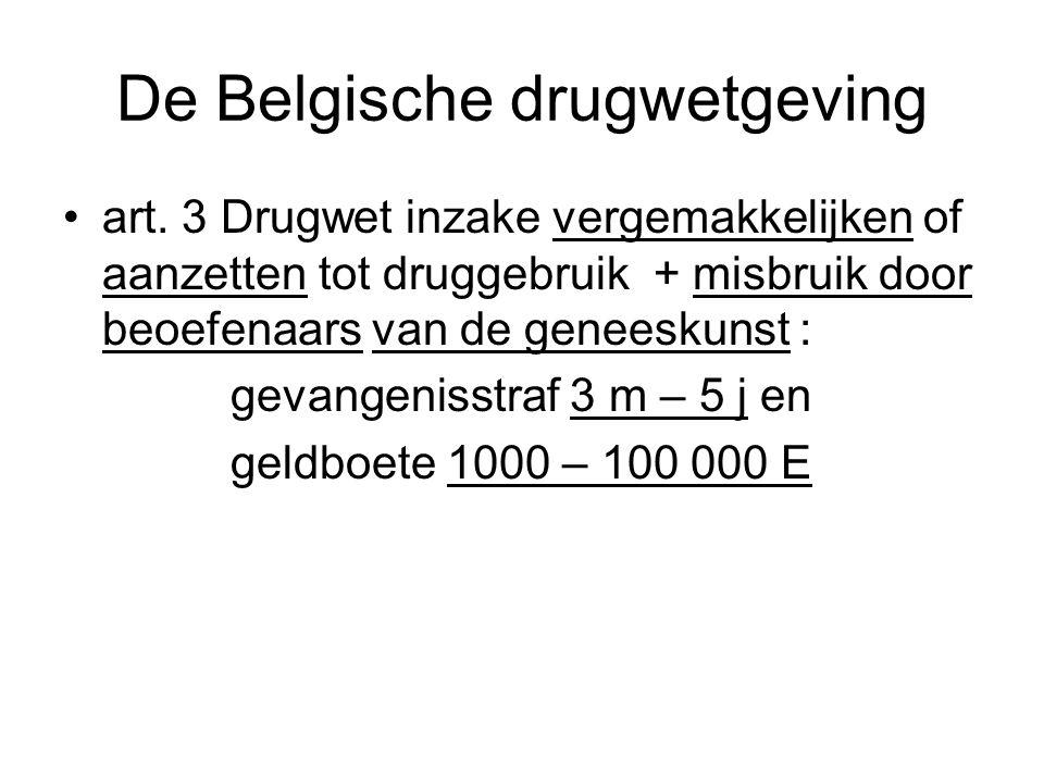 De Belgische drugwetgeving art. 3 Drugwet inzake vergemakkelijken of aanzetten tot druggebruik + misbruik door beoefenaars van de geneeskunst : gevang