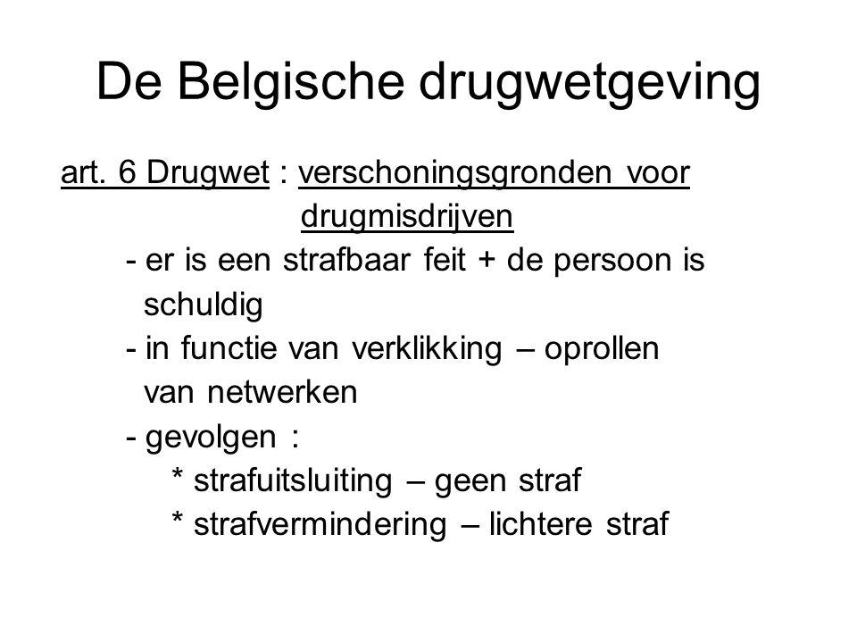 De Belgische drugwetgeving art. 6 Drugwet : verschoningsgronden voor drugmisdrijven - er is een strafbaar feit + de persoon is schuldig - in functie v