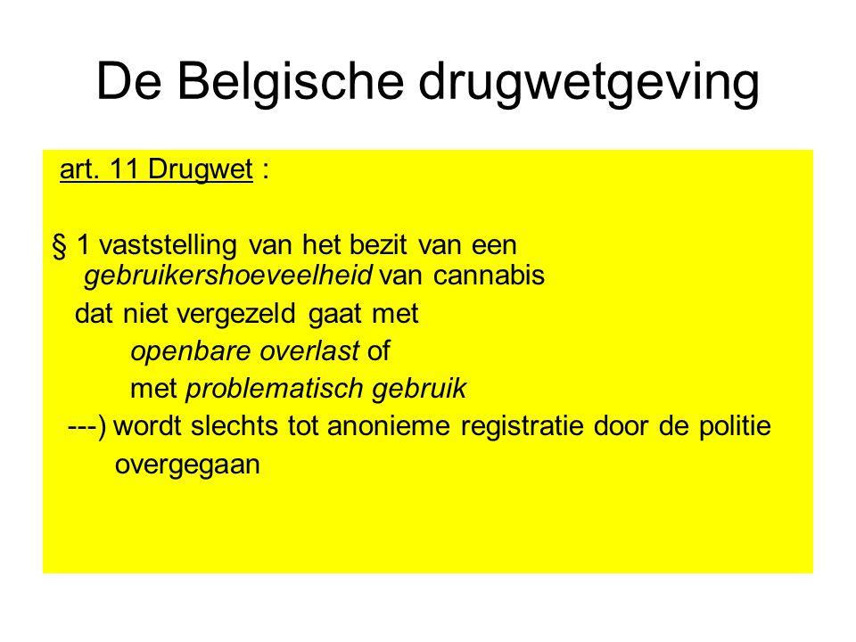 De Belgische drugwetgeving art. 11 Drugwet : § 1 vaststelling van het bezit van een gebruikershoeveelheid van cannabis dat niet vergezeld gaat met ope