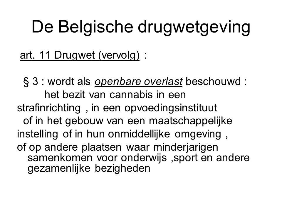 De Belgische drugwetgeving art. 11 Drugwet (vervolg) : § 3 : wordt als openbare overlast beschouwd : het bezit van cannabis in een strafinrichting, in