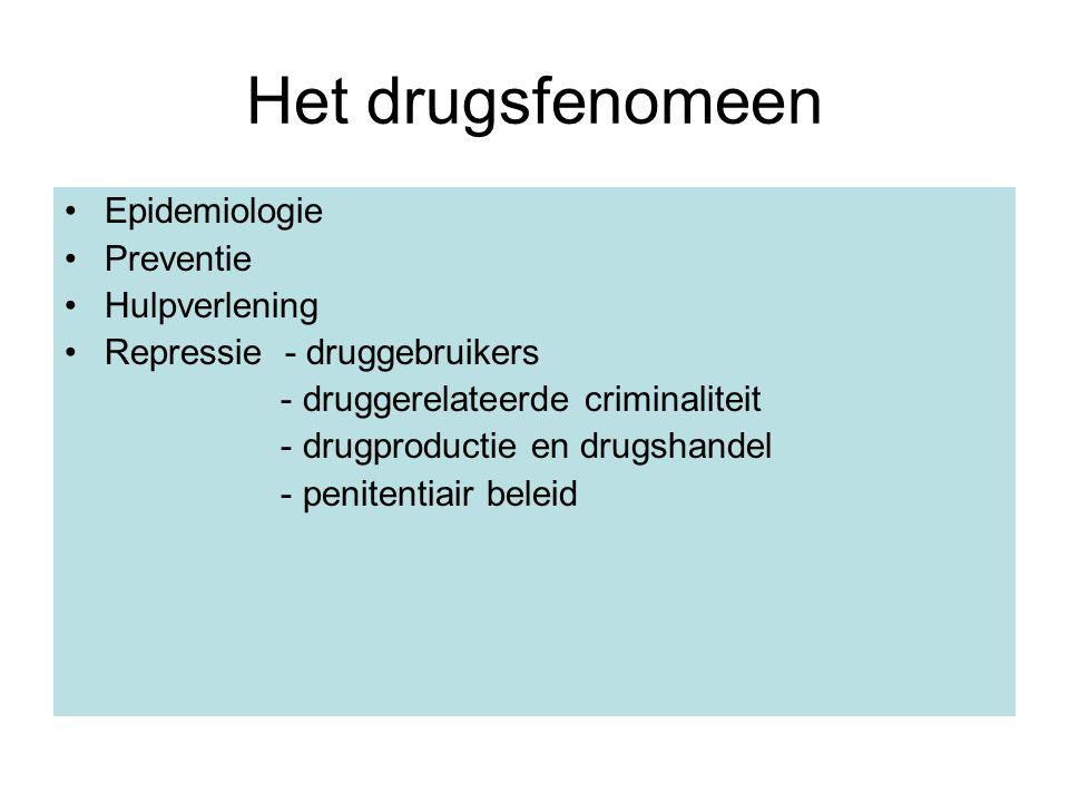 Het drugsfenomeen Epidemiologie Preventie Hulpverlening Repressie - druggebruikers - druggerelateerde criminaliteit - drugproductie en drugshandel - p