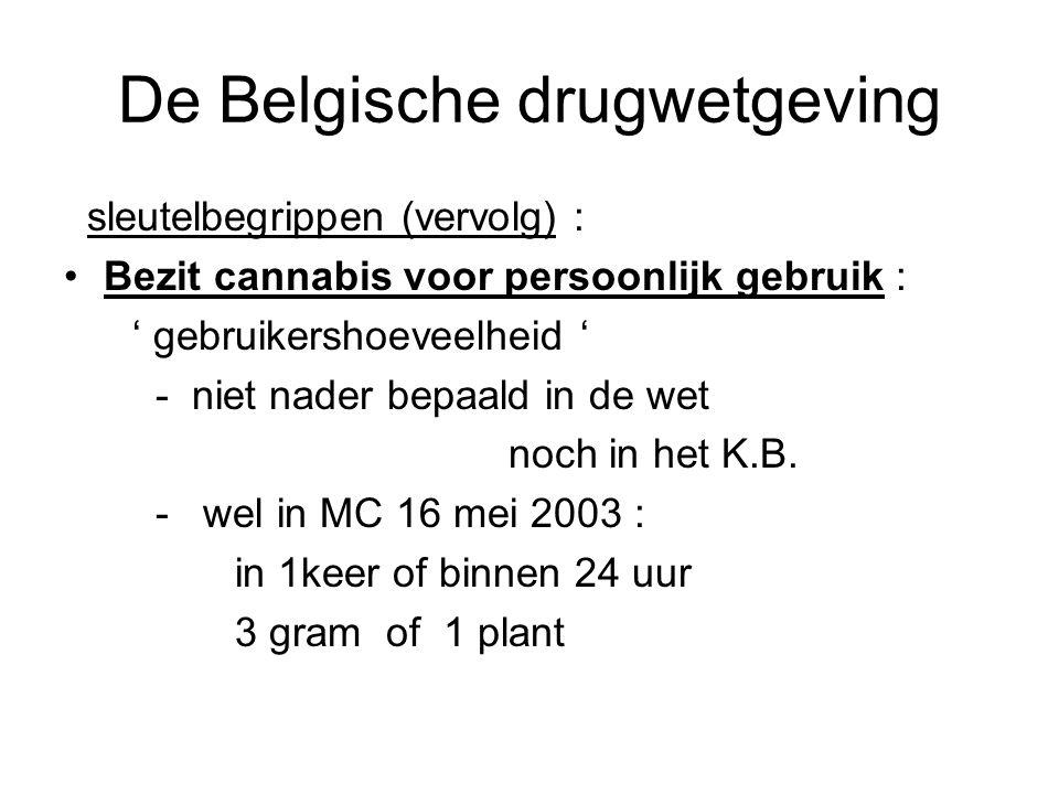 De Belgische drugwetgeving sleutelbegrippen (vervolg) : Bezit cannabis voor persoonlijk gebruik : ' gebruikershoeveelheid ' - niet nader bepaald in de