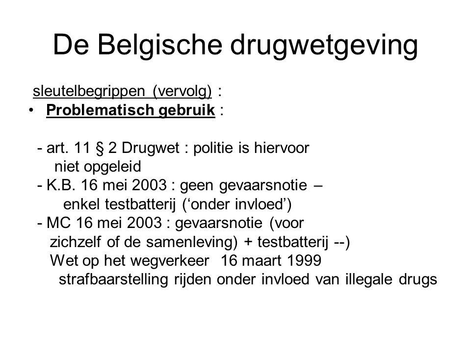 De Belgische drugwetgeving sleutelbegrippen (vervolg) : Problematisch gebruik : - art. 11 § 2 Drugwet : politie is hiervoor niet opgeleid - K.B. 16 me