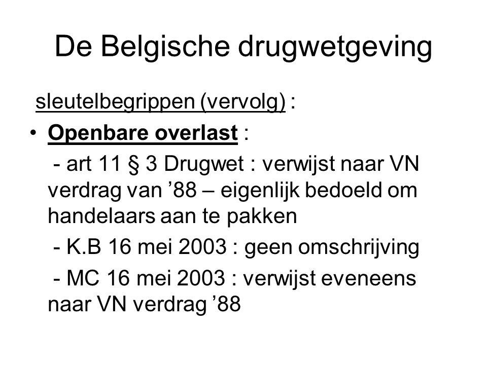 De Belgische drugwetgeving sleutelbegrippen (vervolg) : Openbare overlast : - art 11 § 3 Drugwet : verwijst naar VN verdrag van '88 – eigenlijk bedoel