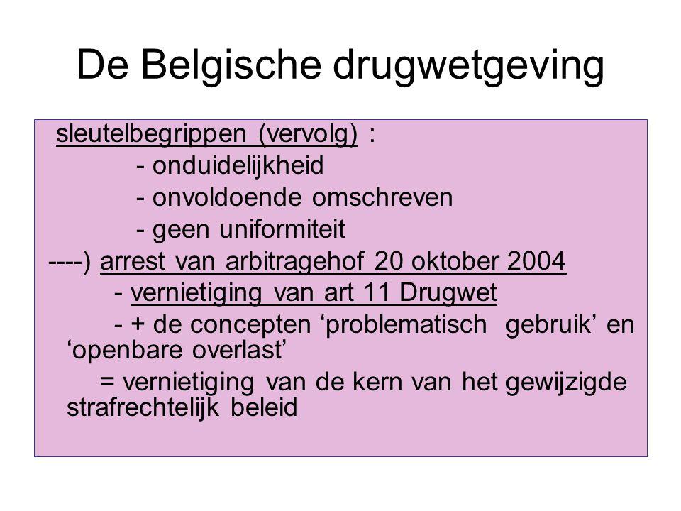 De Belgische drugwetgeving sleutelbegrippen (vervolg) : - onduidelijkheid - onvoldoende omschreven - geen uniformiteit ----) arrest van arbitragehof 2
