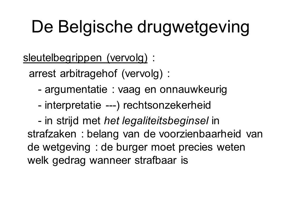 De Belgische drugwetgeving sleutelbegrippen (vervolg) : arrest arbitragehof (vervolg) : - argumentatie : vaag en onnauwkeurig - interpretatie ---) rec