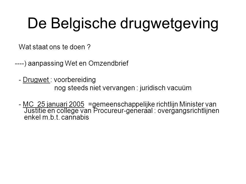 De Belgische drugwetgeving Wat staat ons te doen ? ----) aanpassing Wet en Omzendbrief - Drugwet : voorbereiding nog steeds niet vervangen : juridisch