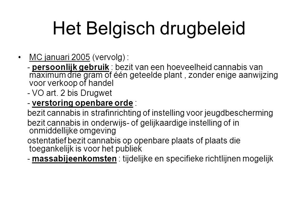 Het Belgisch drugbeleid MC januari 2005 (vervolg) : - persoonlijk gebruik : bezit van een hoeveelheid cannabis van maximum drie gram of één geteelde p