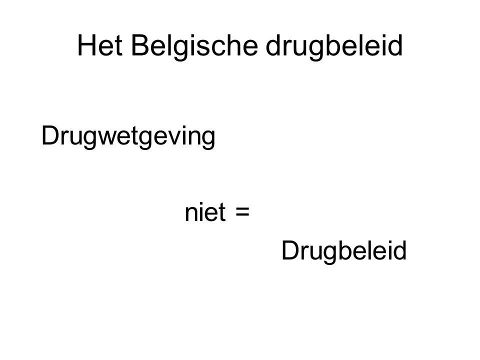 Het Belgische drugbeleid Drugwetgeving niet = Drugbeleid