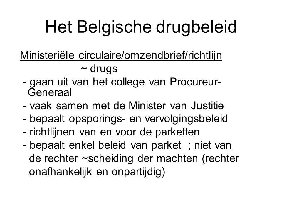 Het Belgische drugbeleid Ministeriële circulaire/omzendbrief/richtlijn ~ drugs - gaan uit van het college van Procureur- Generaal - vaak samen met de