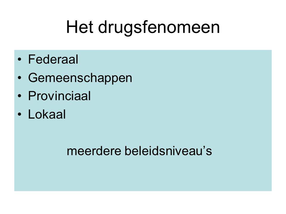 Het drugsfenomeen Federaal Gemeenschappen Provinciaal Lokaal meerdere beleidsniveau's