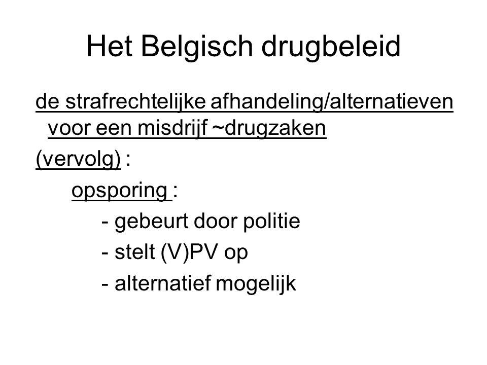 Het Belgisch drugbeleid de strafrechtelijke afhandeling/alternatieven voor een misdrijf ~drugzaken (vervolg) : opsporing : - gebeurt door politie - st