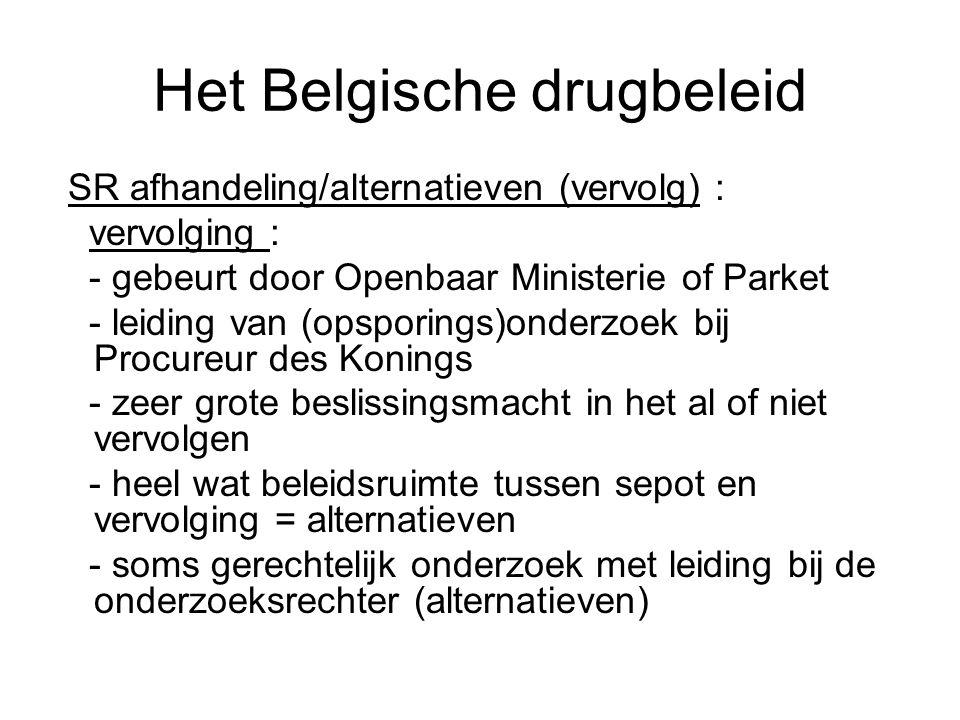 Het Belgische drugbeleid SR afhandeling/alternatieven (vervolg) : vervolging : - gebeurt door Openbaar Ministerie of Parket - leiding van (opsporings)