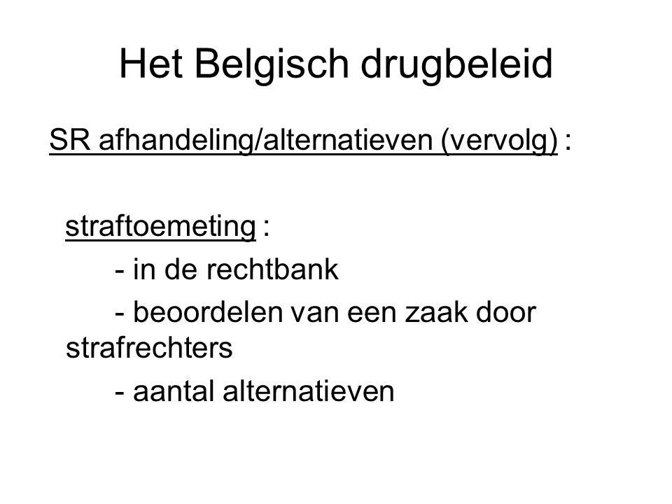 Het Belgisch drugbeleid SR afhandeling/alternatieven (vervolg) : straftoemeting : - in de rechtbank - beoordelen van een zaak door strafrechters - aan