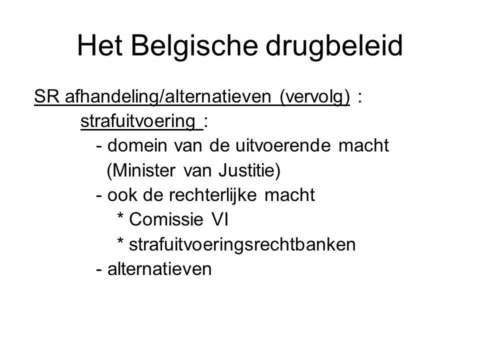 Het Belgische drugbeleid SR afhandeling/alternatieven (vervolg) : strafuitvoering : - domein van de uitvoerende macht (Minister van Justitie) - ook de
