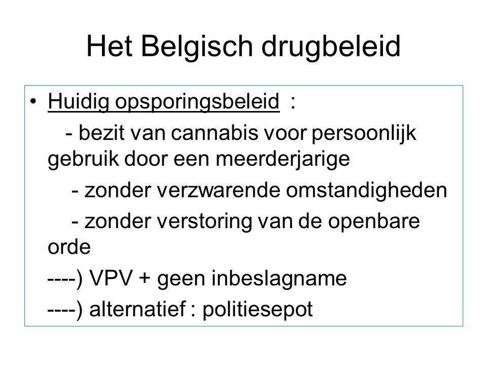 Het Belgisch drugbeleid Huidig opsporingsbeleid : - bezit van cannabis voor persoonlijk gebruik door een meerderjarige - zonder verzwarende omstandigh