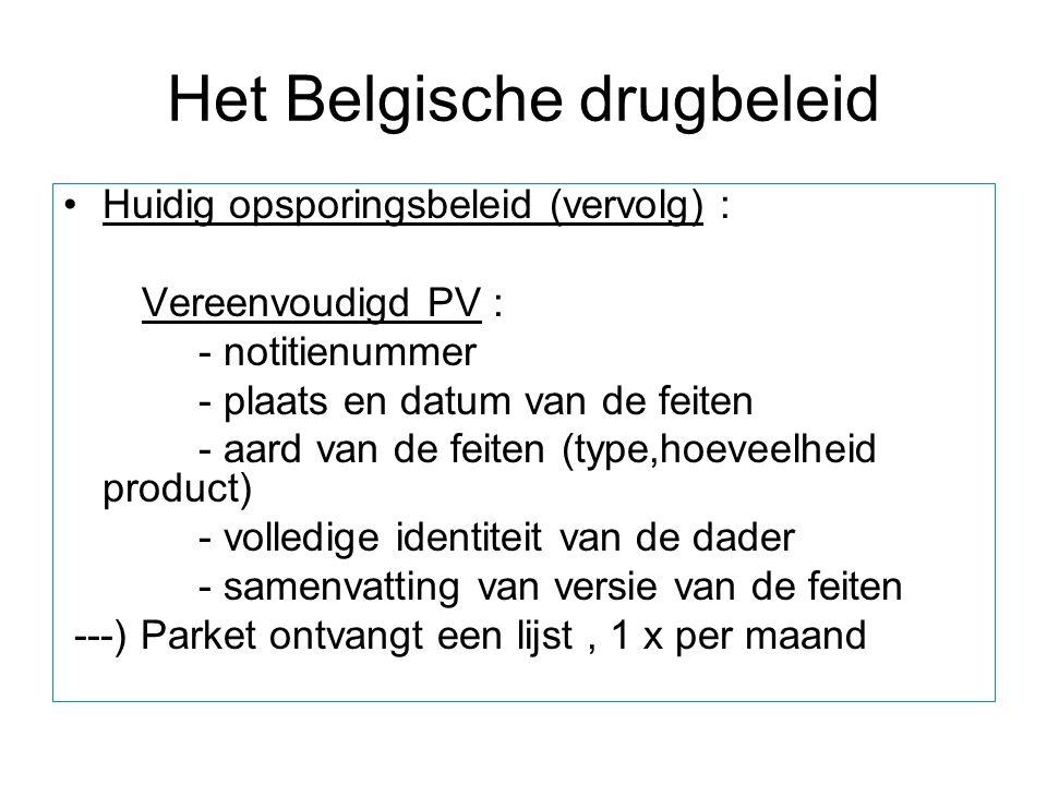 Het Belgische drugbeleid Huidig opsporingsbeleid (vervolg) : Vereenvoudigd PV : - notitienummer - plaats en datum van de feiten - aard van de feiten (