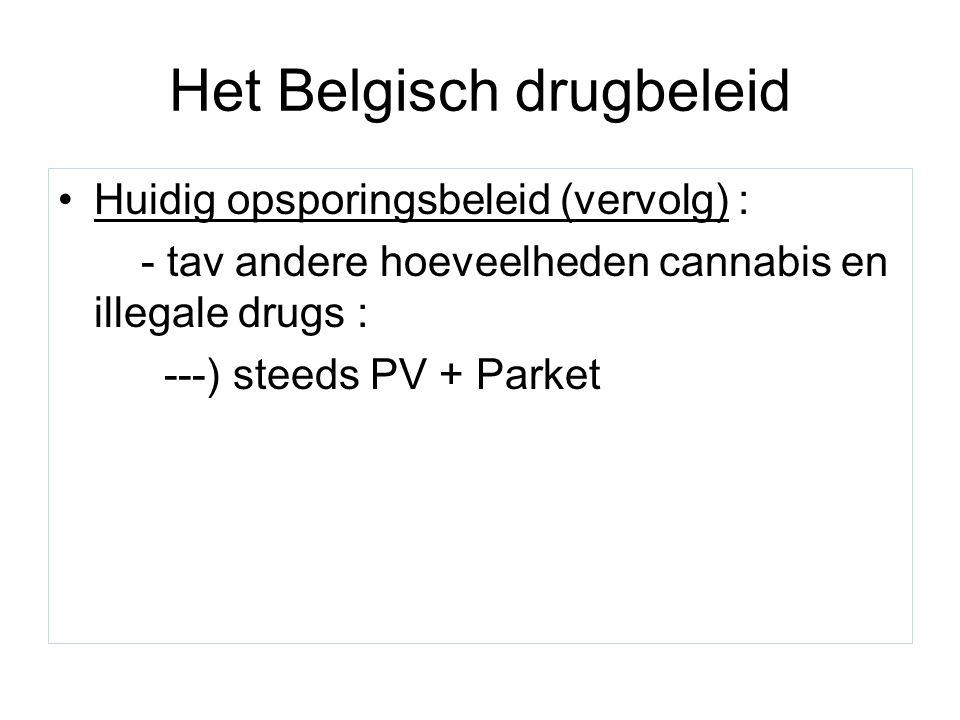 Het Belgisch drugbeleid Huidig opsporingsbeleid (vervolg) : - tav andere hoeveelheden cannabis en illegale drugs : ---) steeds PV + Parket