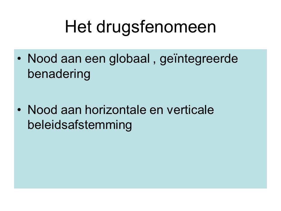 Het drugsfenomeen Nood aan een globaal, geïntegreerde benadering Nood aan horizontale en verticale beleidsafstemming