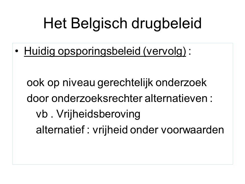 Het Belgisch drugbeleid Huidig opsporingsbeleid (vervolg) : ook op niveau gerechtelijk onderzoek door onderzoeksrechter alternatieven : vb. Vrijheidsb