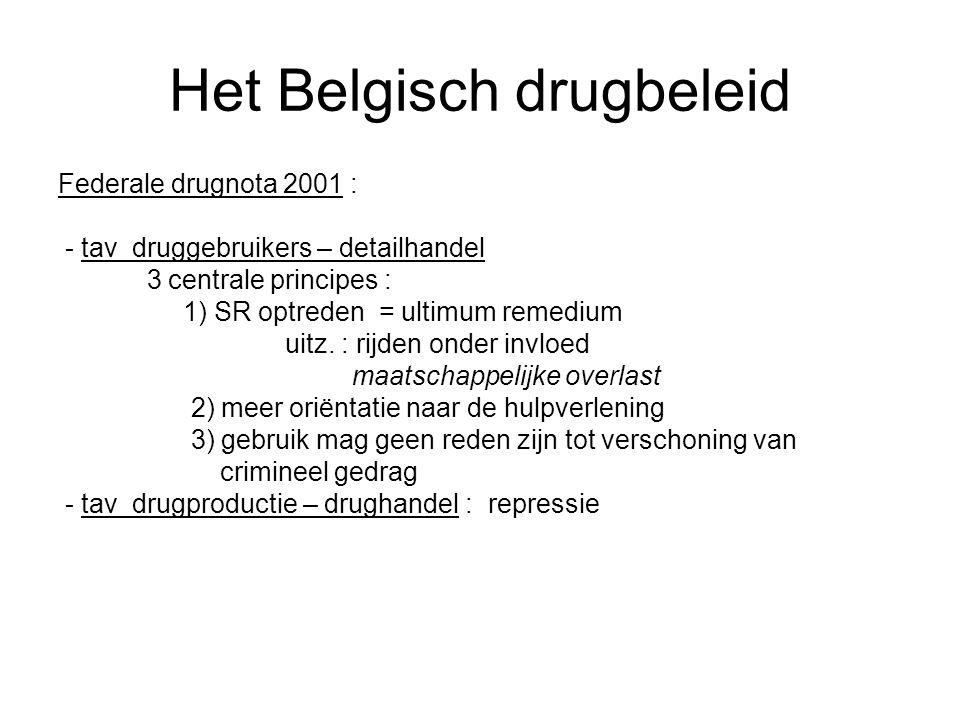 Het Belgisch drugbeleid Federale drugnota 2001 : - tav druggebruikers – detailhandel 3 centrale principes : 1) SR optreden = ultimum remedium uitz. :