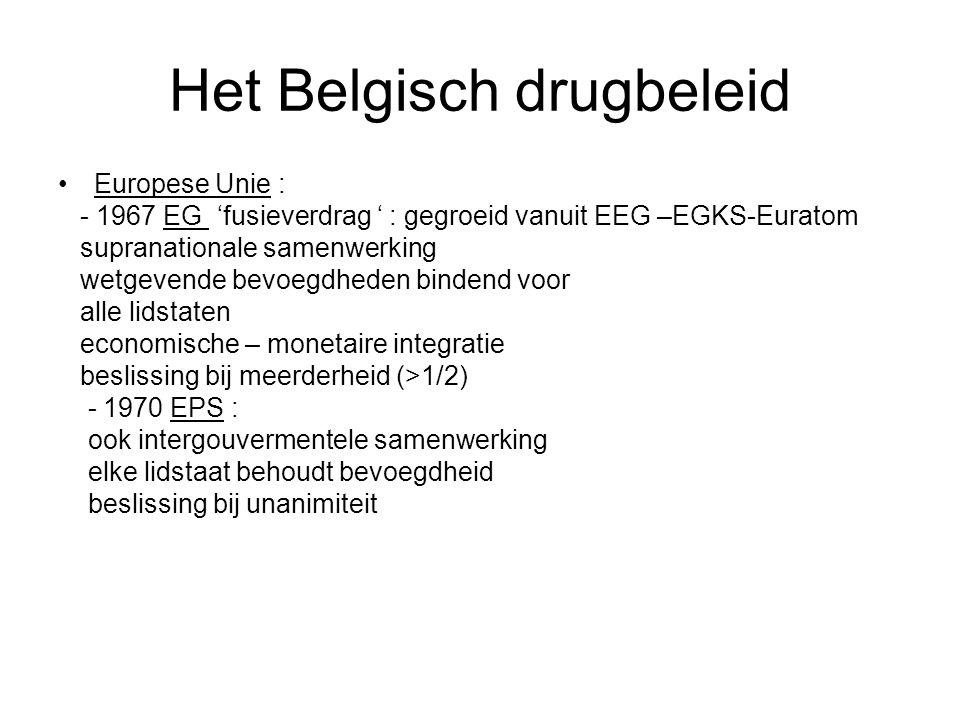 Het Belgisch drugbeleid Europese Unie : - 1967 EG 'fusieverdrag ' : gegroeid vanuit EEG –EGKS-Euratom supranationale samenwerking wetgevende bevoegdhe
