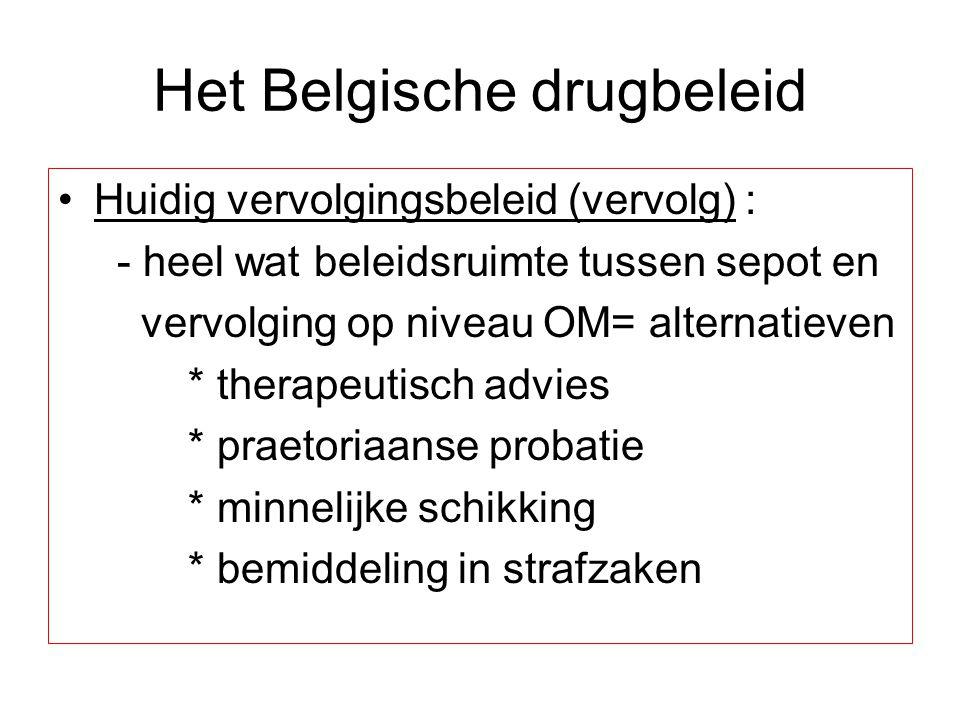 Het Belgische drugbeleid Huidig vervolgingsbeleid (vervolg) : - heel wat beleidsruimte tussen sepot en vervolging op niveau OM= alternatieven * therap
