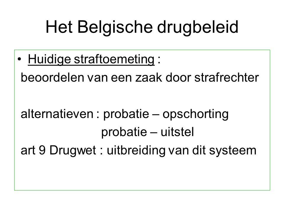 Het Belgische drugbeleid Huidige straftoemeting : beoordelen van een zaak door strafrechter alternatieven : probatie – opschorting probatie – uitstel