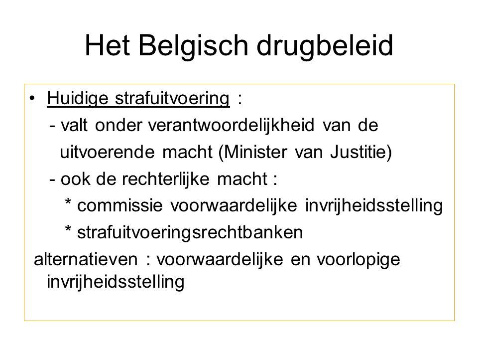 Het Belgisch drugbeleid Huidige strafuitvoering : - valt onder verantwoordelijkheid van de uitvoerende macht (Minister van Justitie) - ook de rechterl